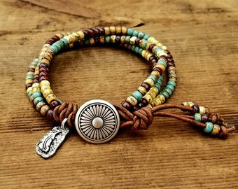 Seed Bead Leather Wrap Bracelet Beaded Leather Wrap Bracelet Womens Jewelry Bohemian Jewelry Boho