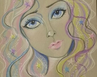 Original Art-Starlight-Fantasy Face-Woman's Portrait-Leslie Mehl Art