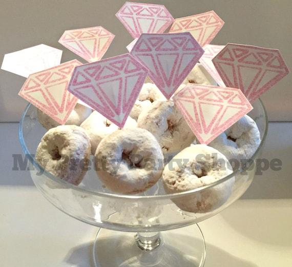 PINK Printable Diamond Ring Donut Cupcake Toppers Wedding