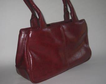 Liz Claiborne Genuine Leather Handbag Vintage Brown Burgundy