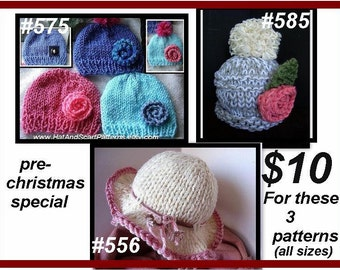 Hat Knitting Patterns, Handmade Patterns, Pre-Christmas Special, get these 3 patterns, #556, 575, and 585, hats, baby to adult sizes