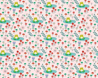 SALE Princess Dreams Frogs Pink by Riley Blake Designs - Floral Flowers - Quilting Cotton Fabric - choose your cut