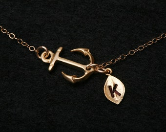 Gold Anchor Necklace,sideways Anchor with leaf initial,initialed leaf necklace,monogram leaf,Sailors Anchor,hope necklace,Bridesmaid gift