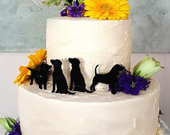 Silhouette Wedding Cake Topper + Dog Bride Groom + Dog Pet Family of 3 Silhouette Wedding Cake Topper Bride and Groom Cake Topper