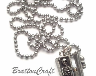 Hinged Silver Coffin Necklace - Coffin Necklace - Day of the Dead Necklace - Halloween Necklace - Skeleton Necklace - Skeleton Jewelry