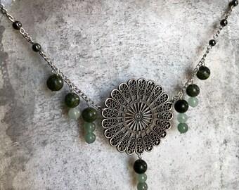 "Jade ""Fan"" Necklace with Nephrite, Jadeite and Hematite Beads"