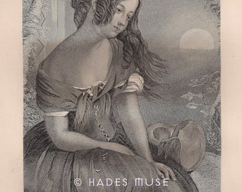 Weep For The Hour-Chaste Cold Moon Hid Her Light-Great Sorrow-Maiden's Shame-False Vows-1800's Antique Vintage Art Print-Gothic