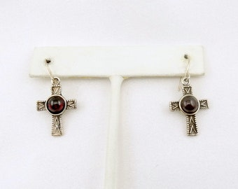 Beautiful Vintage Garnet and Sterling Silver Cross Dangle Earrings FREE SHIPPING #CROSS-ERG4