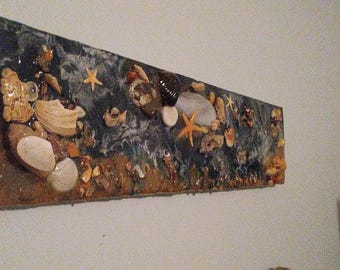 Celestial Sea Shell Wall Art Painting collage mixed media  Coastal Beach Art House Space Junkies
