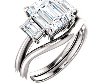 NEO Moissanite Engagement Ring 'Palais Royale' Three Emerald RING Moissanite Custom Moissanite Engagement Ring 2 carat 3 carat Anniversary