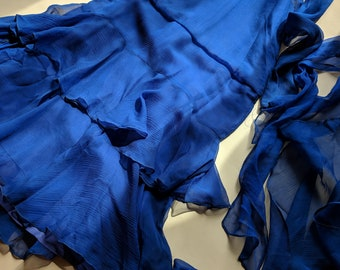 1920s Silk Dress Floaty Blue Layered 3 Piece Dress in EX condition XS SMALL with Capelet & Scarf