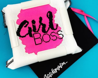 Girl Boss -  Modern Embroidery Kit - Mini Cross Stitch Kit - Hand Painted Fabric - Needlepoint Kit - DIY Kit - Embroidery Kit