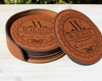 9th Anniversary Leather Gift, Leather Wedding Anniversary Gift, Leather Coasters set of 6 with holder and Personalized laser engraving
