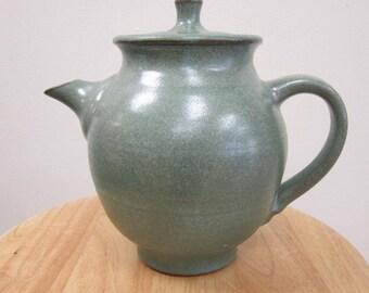 Teapot in Semigloss Copper Green Glaze