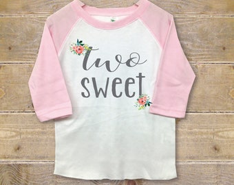 Second Birthday Shirt GIrl, Second Birthday Outfit, Two Shirt, Second Birthday Shirt, Girl's Clothes, Girl's Shirt, Two Sweet, Birthday