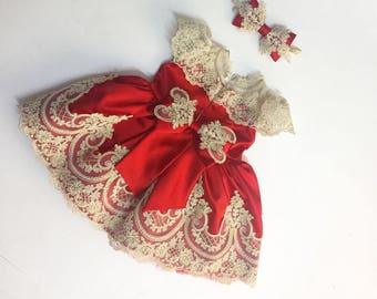 Red baby dress | christmas dress | bow dress | holiday dress