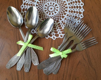 Vintage stainless steel set, stainless spoon fork, metal soviet fork spoon, vintage flatware, Retro Dining Vintage, old cutlery, tableware
