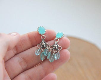 Gemstone earrings Silver earrings Apatite earrings Blue earrings