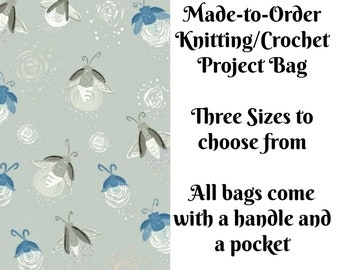 Fireflies - Grey, Knitting Project Bag, Large Project Bag, Drawstring, Zippered, Sock Sack, Yarn Tote, Sock Project