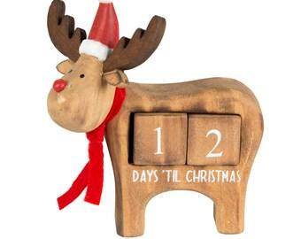 Reindeer Advent Christmas Countdown - wooden
