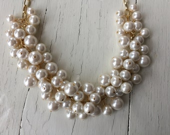 Pearl cluster necklace in Ivory pearls -gold chain  bridesmaid jewelry - chunky pearl - ivory pearl necklace