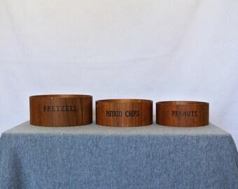 Vintage Wood Nesting Snack Bowls