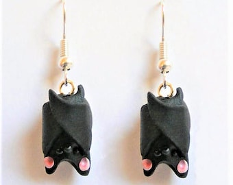 Bat Earrings, Bat Jewelry, Miniature Food Jewelry, Mini Food Jewelry, Bat Jewelry, Hanging Bat Earrings, Kawaii Earrings, Bat Lover Gift