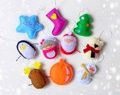 Christmas felt ornaments set 10, Christmas decoration, christmas tree decor, Christmas decor, Christmas tree toys, Christmas toys 2016