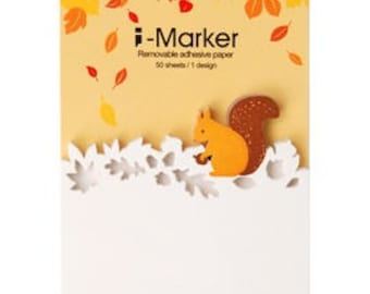 Sticky Notes - 1 design x 50 sheets, - i-marker, post-it, sticky memo, book marks, squirrel, autumn