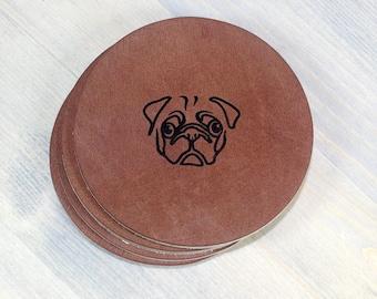 Pug Leather Coasters 4 Pack
