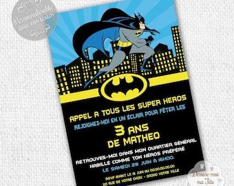 "Personalized ""Batman"" - printable personalized Invitation birthday invitation"