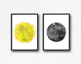 Sun and Moon Print Set of 2 Watercolor Painting Print Bedroom Wall Decor Luna Wall Art Lunar Moon Art Home Decor Sun Print Art Prints