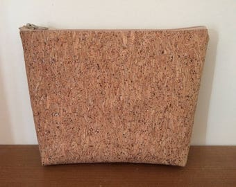 Pouch / sequined Cork make up bag, unlined, with choice of suede tassels.