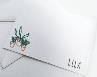 Personalized Stationery -- The Tiny Plants -- LILA -- Contemporary Stationery Set of Custom Notes & Envelopes- CHOOSE your QUANTITY