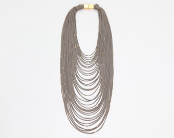 Multi strands textile statement necklace - long multistrands beige necklace - multi strands scarf necklace