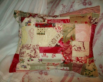 Made with fabrics, lace, vintage embroidery pillow