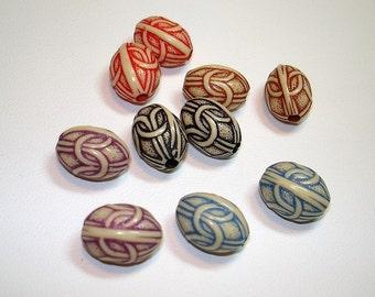Colorful Acrylic Barrel Beads (Qty 10) - B404