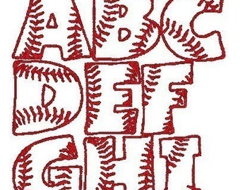 PES ONLY Baseball Font Machine Embroidery Monogram Set 4x4 Hoop