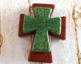 Large Stacked Brown Stone Cross with Forest Green Stone Cross