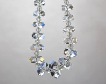Faceted Crystal Rondelle Graduated Choker Necklace Vintage