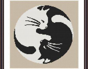 Yin Yang Cat cross stitch pattern Yin Yang Cat Design Yin Yang cross stitch Yin Yang embroidery Yin Yang pattern Yin Yang Cat lover gift Cat