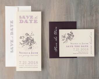 "Rustic Plum Purple Save the Dates, Lavender Save the Date Cards, Elegant Save the Date - ""Purple Charmer"" Save the Dates"