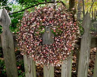 Year Round Wreath -Door Wreath - Berry Wreath - Year Round -  Pink Wreath