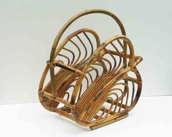 Vintage Rattan Large Magazine Rack Towel Holder Books Toys Container Mid Century Wicker Style Boho Chic Bohemian Living Room Study Sunroom