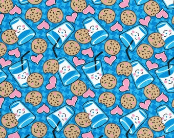BTY MILK & COOKIES on Blue Print 100% Cotton Quilt Craft Fabric by the Yard