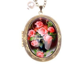 Rose locket, Rose Necklace, (3040m)