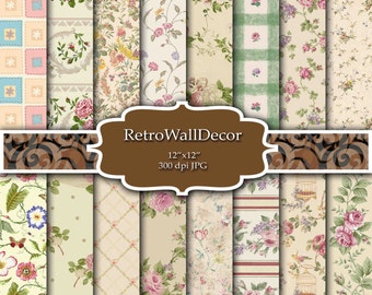 Floral Digital Paper Shabby Chic Papers Floral Patterns Floral Decoupage Papers Vintage Paper Vintage Roses Paper 12x12 Buy 2 Get 1 FREE