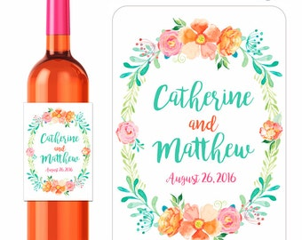 Custom Wedding Wine Labels Personalized Summer Bouqet Watercolor Flower Wreath Designer Labels Waterproof Vinyl 3.5 x 5 inch