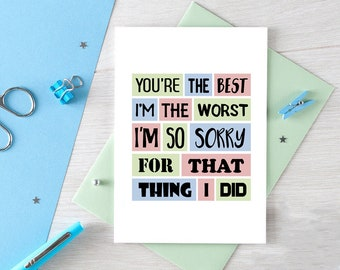 I Am Sorry Card | Apologies | Forgive Me | Sorry For What I Did | Apology Card | I'm Really Sorry | Funny Apology | Blank | SE0169A6