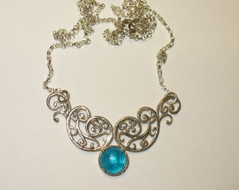 Neon Blue Apatite Cabochon in Sterling Silver Fancy Centerpiece Necklace - 40% Off Regular Price!